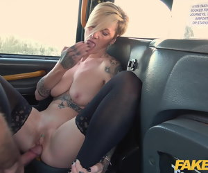 12:00 , Fake Taxi Scalding British blonde MILF swaps shops be advantageous to cock