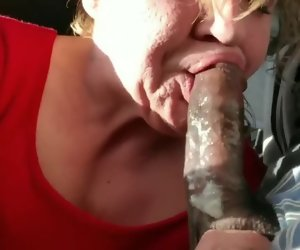 6:12 , Old GILF gumming black dick and swallows