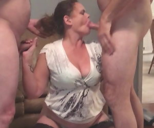 8:07 , Chubby wife fucks 2 guys on her birthday, gets huge facials