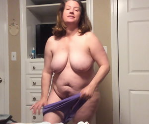 6:25 , BBW mom with hairy pussy tries on Y-fronts plus BBC reverie