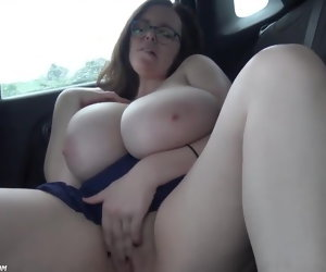6:30 , Huge Natural Boobs BBW Slut In Car