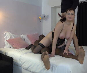 44:03 , French brown slut in stockings enjoys a dark and a white cock