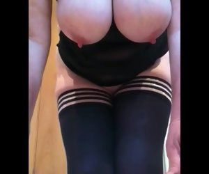3:13 , Off colour Granny huge tits thick lipped pussy swallows dildo