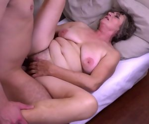 6:15 , Grandma gets young cock for hairy old cunt