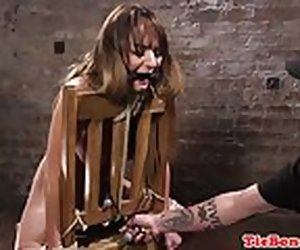 10:00 , Whipped bdsm sub restrained for ID card