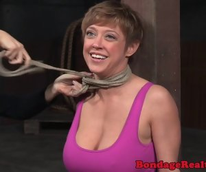 8:00 , Busty nipple clamped sub pitilessly punished