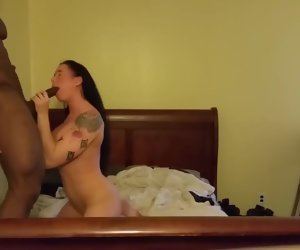 3:02 , Tatted Chick Takes Black Cock