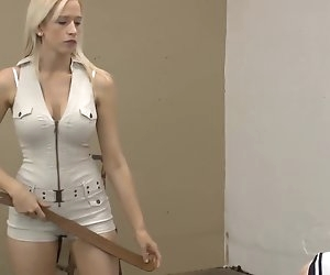 6:02 , hot strict mistress in shorts punishing her related with strap