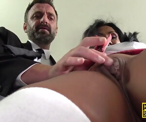 12:00 , Mature sub gets throated plus pounded