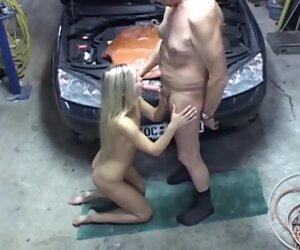 25:20 , Sex-mad old man is fucking a frisky, fair-haired slut in his garage, after..