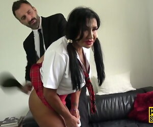 12:00 , Mature sub gets throated and pounded