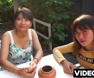 5:00 , Two young Asian girls fucked close by Thailand