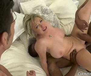 34:25 , Busty blonde woman is sucking many hard cocks in a row before for her husband