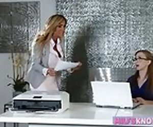 8:00 , Busty MILF and nerdy teen scissoring on the assignment desk