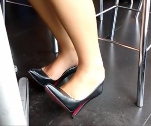 5:21 , Candid wings less her new louboutins under table candid gf
