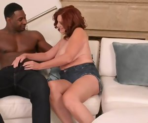 22:00 , horny busty redhead mature all over hairy pussy takes BBC