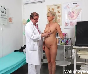 30:38 , Blonde granny, Koko takes off her clothes at hand her doctors office coupled..