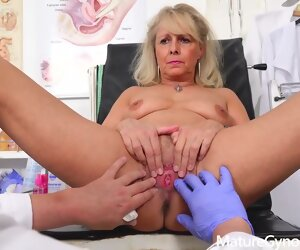 30:38 , Blonde granny, Koko takes off her clothes in her doctors place and asks for..