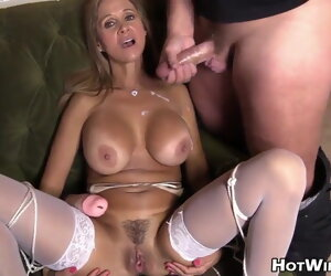 15:35 , Handjob, blowjob with the addition of cumshot on a beautiful woman, compilation