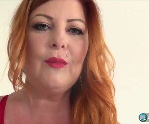 18:47 , Red haired woman, Tammy is often using a big, black dildo in all directions..