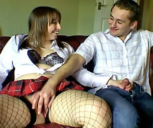 5:20 , Chubby coupled with chatty girlfriend in fishnet stockings